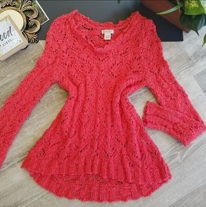 Lucky Brand Red Open Loose Knit High Low Sweater S